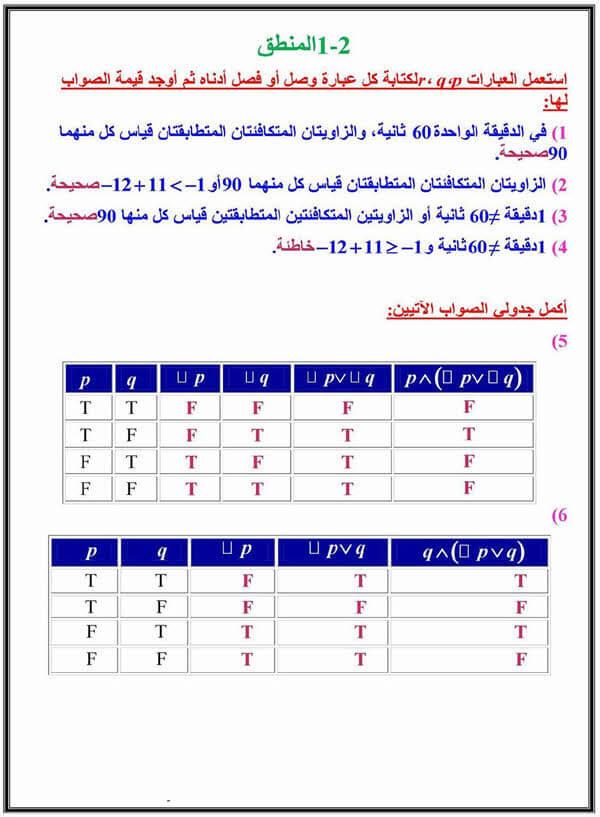 المنطق حل كتاب الرياضيات اول ثانوي Education Ksa الموقع التعليمي